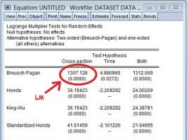 Output Lagrangian Multiplier Test Regresi Data Panel dengan Eviews